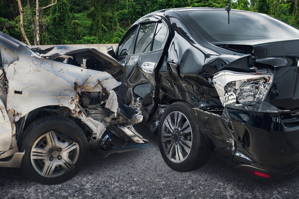 Two smashed up cars involved in a car accident claim