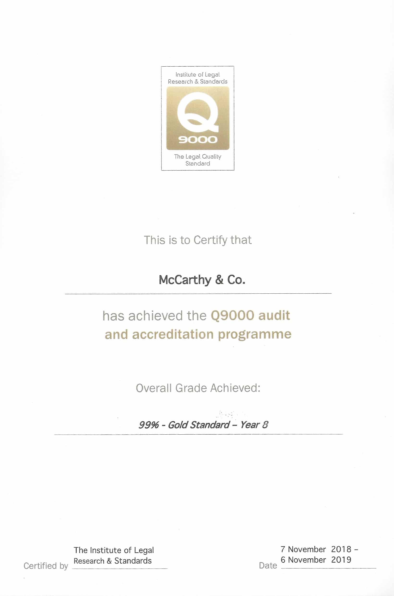 Q9000 Gold Standard Quality Assurance Certificate McCarthy + Co. Personal Injury and Medical Negligence Solicitors